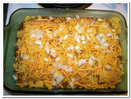 Tamale Chili Bake, before baking