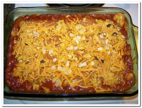 Tamale Chili Bake, after baking