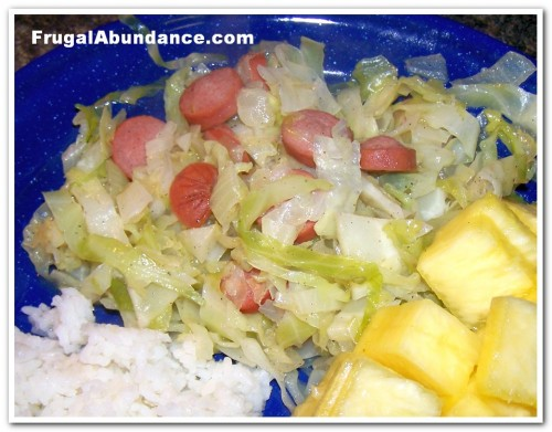 Hot Dog & Cabbage Skillet